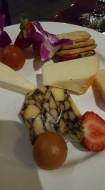 Cheese selection featuring chocolate marbled cheese